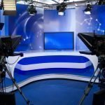 tv studio with cameras and lights production