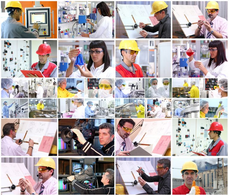 collage of workers in industrial equipment industry